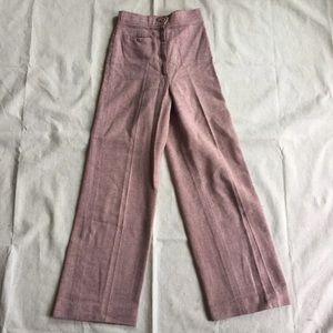 Pink wool wide leg pants